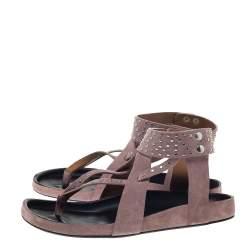 Isabel Marant Pink Suede Leather Ellan Studded Thong Flat Sandals Size 41