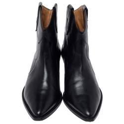 Isabel Marant Black Leather Dewina Ankle Boots Size 39