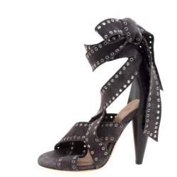 Isabel Marant Grey Eyelet Suede Anaid Cross Strap Wrap Around Sandals Size 40