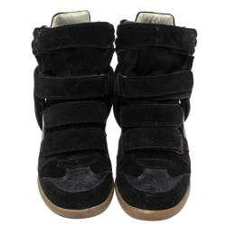 Isabel Marant Black Suede And Leather Bekett Wedge High Top Sneakers Size 37