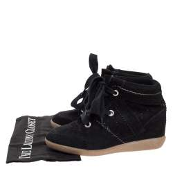 Isabel Marant Black Suede Bobby Lace Up Wedge Sneakers Size 36