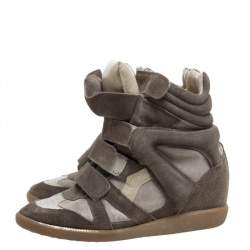 Isabel Marant Grey Suede And Leather Bekett Wedge High Top Sneakers Size 38
