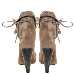 Isabel Marant Khaki Brown Suede Milla Bow Tie Loafer Ankle Boots Size 38