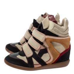 Isabel Marant Multicolor Suede Leather Bekett Wedge High Top Sneakers Size 39