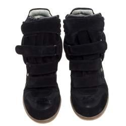 Isabel Marant Black Suede Leather Bekett Wedge High Top Sneakers Size 39