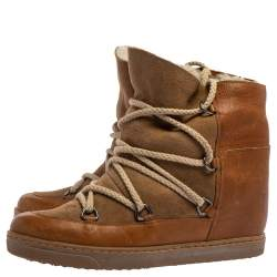 Isabel Marant Brown Suede and Leather Shearling Nowles Ankle Boots Size 40