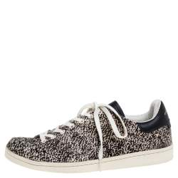 Isabel Marant Beige Leopard Print Calfhair and Leather Low Top Sneakers Size 41