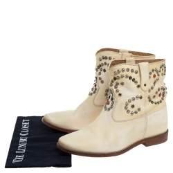 Isabel Marant Cream Studded Leather Boots Size 39