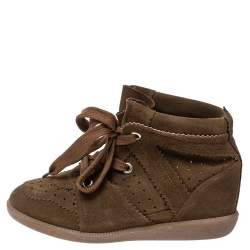 Isabel Marant Brown Suede Leather Bobby Wedge Lace Up Sneakers Size 40