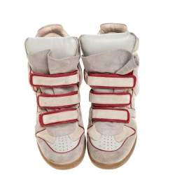 Isabel Marant Grey Suede Leather Bekett Wedge High Top Sneaker Size 40