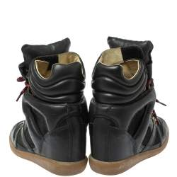 Isabel Marant Black Suede Leather Bekett Wedge High Top Sneakers Size 38