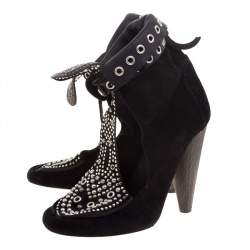 Isabel Marant Black Suede Mossa Studded Cutout Ankle Boots Size 36
