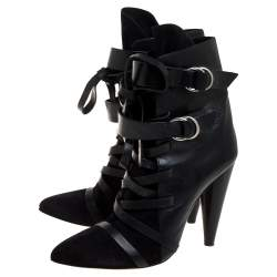 Isabel Marant Black Leather And Suede Royston Leather Ankle Boots Size 41