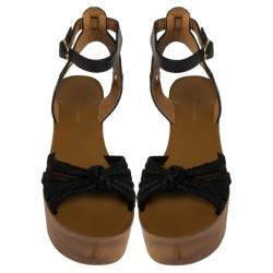 Isabel Marant Black Leather and Jute Zia Wooden Wedge Ankle Strap Sandals Size 37