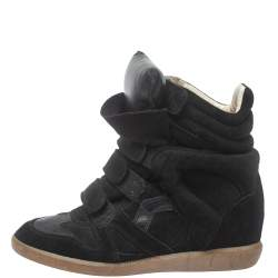 Isabel Marant Black Suede Bekett Wedge High Top Sneakers Size 39