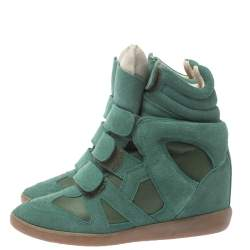 Isabel Marant Green Suede And Leather Bekett Wedge High Top Sneakers Size 37