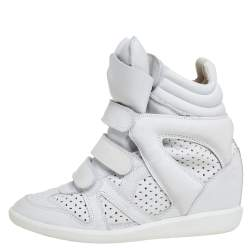 Isabel Marant White Leather Bekett Wedge High Top Sneakers Size 39