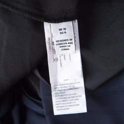 Issa Black Contrast Plisse Panel Detail Vanka Heavy Double Georgette Maxi Dress M