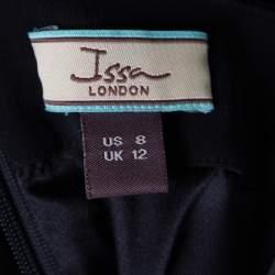 Issa Black Silk Jersey One Shoulder Draped Mini Dress M
