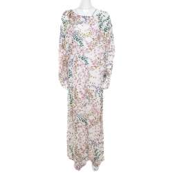 Issa White Butterfly Printed Dolman Sleeve Kaftan Maxi Dress M
