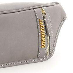 Jacquemus Grey Leather La Banana Logo Plaque Belt Bag