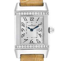 Jaeger LeCoultre Silver Diamond Stainless Steel and Leather Reverso Florale 265.8.86 Women's Wristwatch 21x33MM
