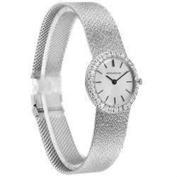 Jaeger LeCoultre Silver Diamonds Pave 18K White Gold Women's Wristwatch 23 MM