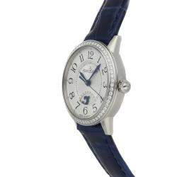 Jaeger LeCoultre Silver Diamonds Stainless Steel Rendez-Vous Night & Day Q3468430 Women's Wristwatch 29 MM