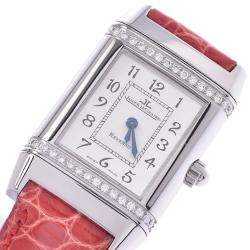 Jaeger-LeCoultre Silver Diamonds Stainless Steel Reverso 265.8.080 Women's Wristwatch 20 x 32 MM