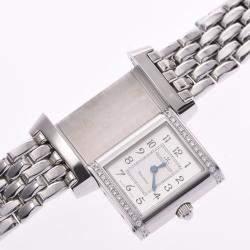 Jaeger-Lecoultre Silver Diamonds Stainless Steel Reverso 265.8.080 Quartz Women's Wristwatch 20 MM