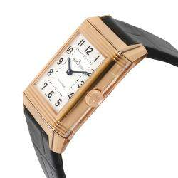 Jaeger Lecoultre White 18K Rose Gold Reverso Duetto Q2572420 Women's Wristwatch 24.5 x 9 MM