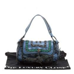 Jamin Puech Blue Leather Bead Embellished Shoulder Bag