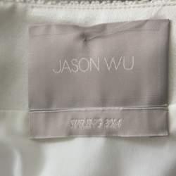 فستان جيسون وو قطن أبيض أوف وايت منقوش بأكمام قصيرة S