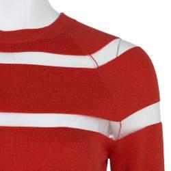 Jason Wu Red Merino Wool Sheer Stripe Detail Sweater S