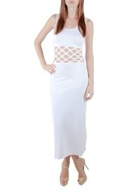 Jean Paul Gaultier Soleil White Cotton Jersey Distressed Waist Bodycon Dress S