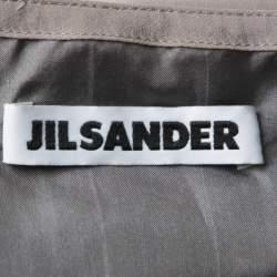 Jil Sander Grey Silk Drape Detail Skirt S