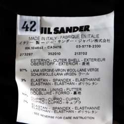 Jil Sander Black Wool Pleat Detail Pencil Skirt L