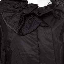 Jil Sander Black Neck Tie Detail Padded Zip Front Jacket XL