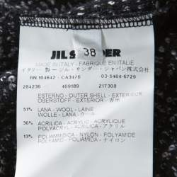 Jil Sander Monochrome Wool Blend Textured Wrap-Button Detail Sheath Dress M