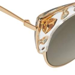 Jimmy Choo Gold Tone/Grey Gradient Crystals REJFQ Audrey Cat-Eye Sunglasses