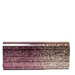 Jimmy Choo Purple Ombre Glitter Acrylic Sweetie Chain Clutch