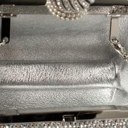 Jimmy Choo Silver Suede Crystal Embellished Dome Clasp Mini Cloud Clutch