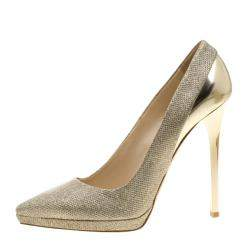 Jimmy Choo Metallic Gold Lamè and Leather Aude Pointed Toe Platform Pumps Size 41