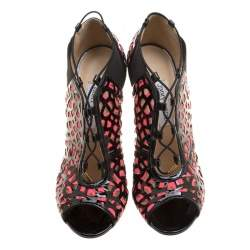 Jimmy Choo Two Tone Laser Cut Leather and Fabric Tactic Lace Up Booties Size 41