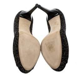 Jimmy Choo Black Textured Suede Crown Peep Toe Platform Pumps Size 39