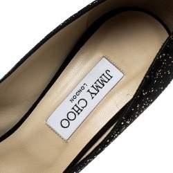 Jimmy Choo Black Textured Suede Crown Peep Toe Platform Pumps Size 41