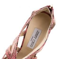 Jimmy Choo Pink Python Collar Platform Sandals Size 41