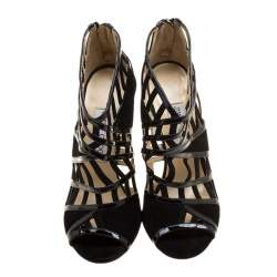 Jimmy Choo Black Patent Leather and Suede Vector Cut Out Cage Sandals Size 37
