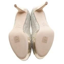 Jimmy Choo Silver Glitter Fabric Dahlia Platform Peep Toe Pumps Size 41