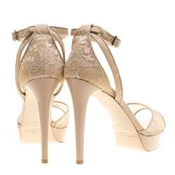 Jimmy Choo Beige Lace and Patent Leather Kayden Ankle Strap Platform Sandals Size 40.5